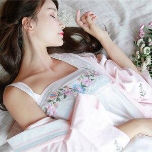 Image 3 - Robe Nightgown Girl Women Sleepwear Embroidery Long Robe Chinese retro style Robe Set