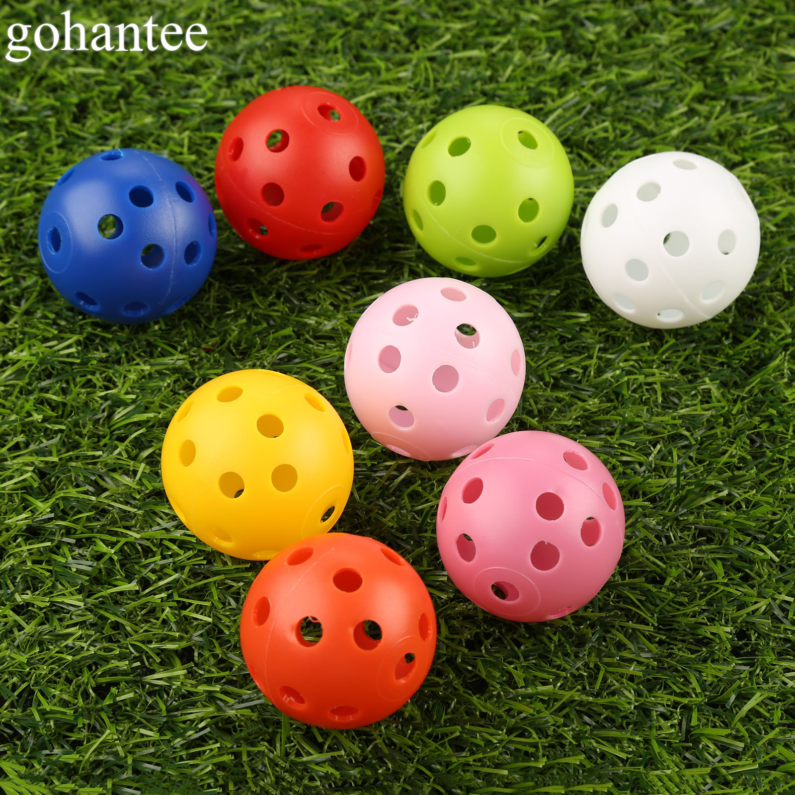 Gohantee 10Pcs 41mm Golf Training Balls Plastic Airflow Hollow With Hole Golf Balls Outdoor Golf Practice Balls Golf Accessories
