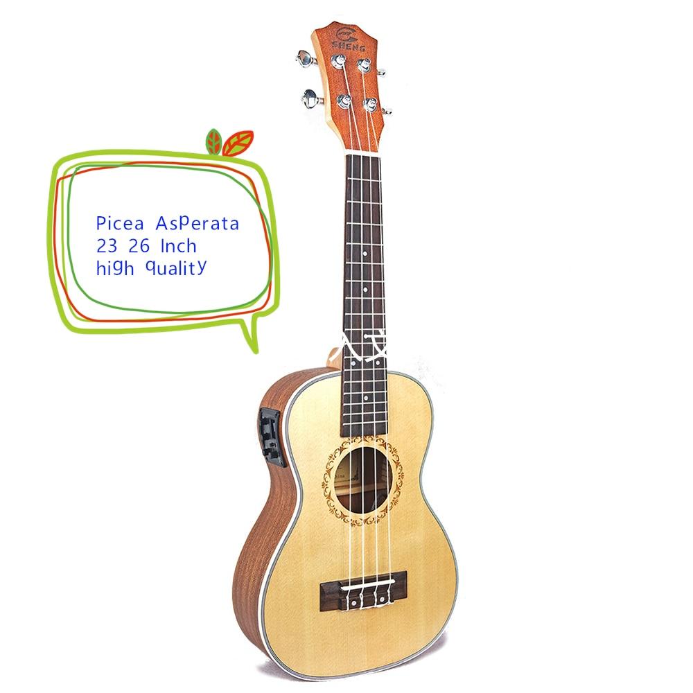 Ukulele Picea Asperata 23 26 Inch Mini Guitar Acoustic Electric Concert Tenor 4 Strings Ukelele Guitarra 26 ukulele tenor all solid wood hawaiian 4 strings guitar mahogany body guitarra ukelele 26 high quality uku string instrument
