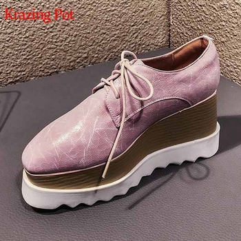 Krazing pot 2019 genuine leather wedges high heels women pumps square toe brand patterns skin spring long leg casual shoes L8f3