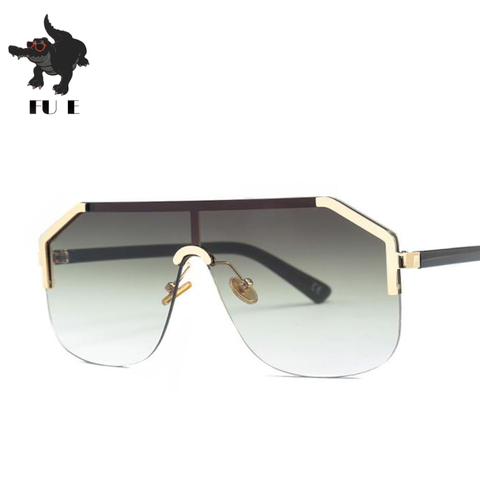 FU E New Gradient Retro Siamese Lens Square Sunglasses Women Brand Designer Half Frame Shield shape Mens Sunglasses UV400  22071 Multan