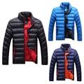 Mens Inverno Quente Slim Fit Bolha Grosso Casaco Jaqueta Parka Outerwear casaco para a Moda dos homens Casuais Preto/azul escuro/luz