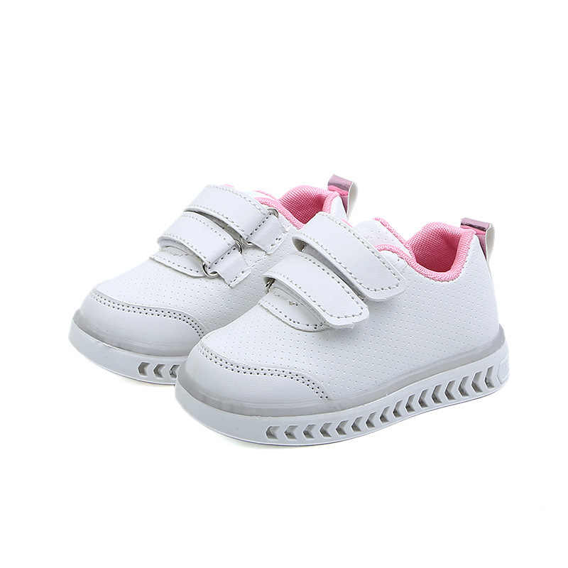 MXHY 2019 Spring new children's light shoes boys light shoes girls LED colorful shoes small children white shoes kids sneakers