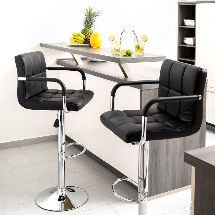 JEOBEST 2 pièces/ensemble Six-grille coussin chaise cuir synthétique pivotant tabourets de Bar hauteur réglable chaises avec repose-pieds tabouret de Bar HWC
