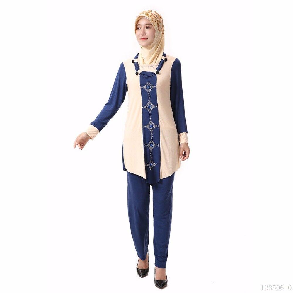 Ближний Восток Abayas мусульманской блузка Ислам ic Костюмы для Для женщин турецкий Малайзии Саудовская Дубай Стиль Топ Штаны женские большие ...