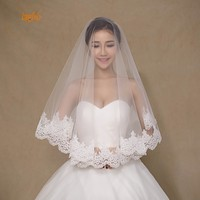 Simple Lace Edge Tulle Wedding Veils One Layer 1 5 M Short Bridal Veil Ivory Bride