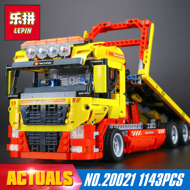 New LEPIN 20021 technic series 1143pcs Flatbed trailer Model Building blocks Bricks Compatible Toy Gift 8109 Educational Car lepin 20005 2793pcs technic series model building block bricks compatible with boys toy gift compatible legoed 42023
