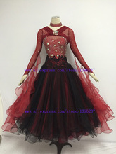 Standard Ballroom Dresses High Class Stone Sparkle Glass Long Sleeve Tango Waltz Ballroom Competiton Dance Dresses