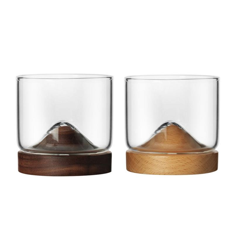 Home Kitchen Whiskey Glass Mountain Wooden Bottom Irish Wine Transparent Glass Cup For Whiskey Wine Vodka