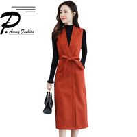 Spring & autumn fashion two piece suit dress women fashion new Turtleneck knit sweater Empire solid color bottoming dress