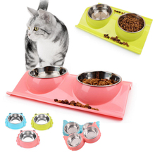 Pet dog food bowl stainless steel Bowl Puppy Cat Water Food Storage Feeder Non-toxic PP Resin Combo Rice Basin 3 Colors