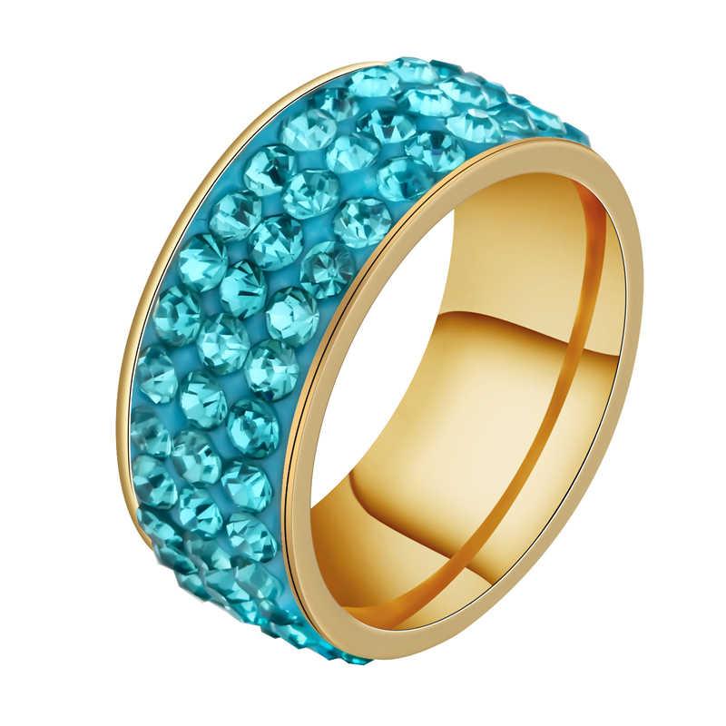 ELSEMODE สีชมพูสีฟ้าสีแดงสีเขียวสีดำสีขาวงานแต่งงานแหวนสแตนเลส 3 แถวคริสตัล Cubic Zirconia ผู้หญิงเครื่องประดับ