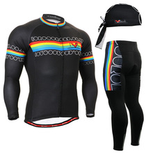 Life on Track Black Mens Cycling Jerseys Set Bike Clothings Breathable Mountain Bike Long Sleeve Black Printing Sports Wears