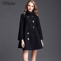 Blufour A line Wool Coat Nữ Mùa Đông Áo Đôi Ngực Ladies Áo Khoác Mùa Thu của Phụ Nữ Cashmere Áo Khoác Màu Xanh Màu giản d
