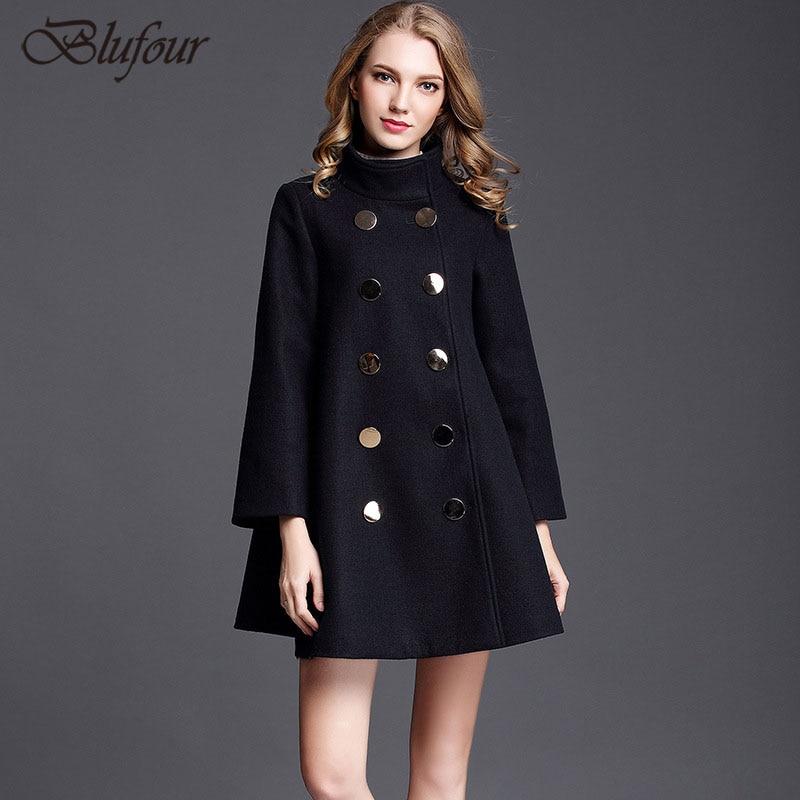 e7ec7ac463e Plusee Coat Plus Size 3XL Women 2017 New A Line Wool Blends Lapel Double-Breasted  Plain Belt ...