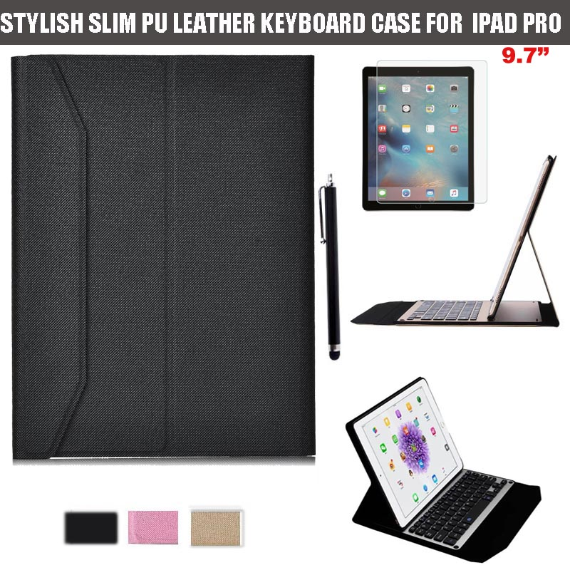 3-In-1 Functional Ultra-Thin High Quality Aluminium QWERTY Bluetooth Keyboard Stand Case Cover For Apple iPad Pro 9.7 inch 2016