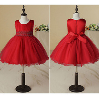 2018 Fashion Kids Girls Party Princess Dress Bow Lace Western Style Slim Models Multi-layer lining Performance Clothing