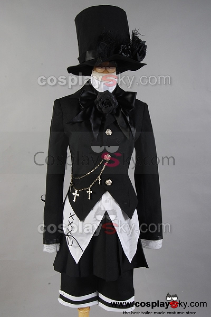 Black Butler Ciel Phantomhive Band Anime Cosplay Costume Black Set Hat Coat Outfit