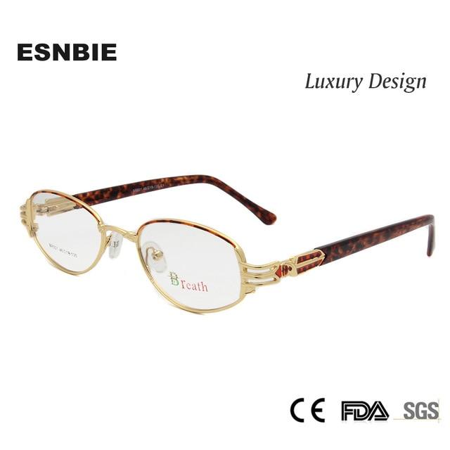ESNBIE Luxo das Mulheres Óculos De Ouro Quadro Optical Óculos de Alta  Qualidade Quadro Feminino Pequeno 5ad36aae70