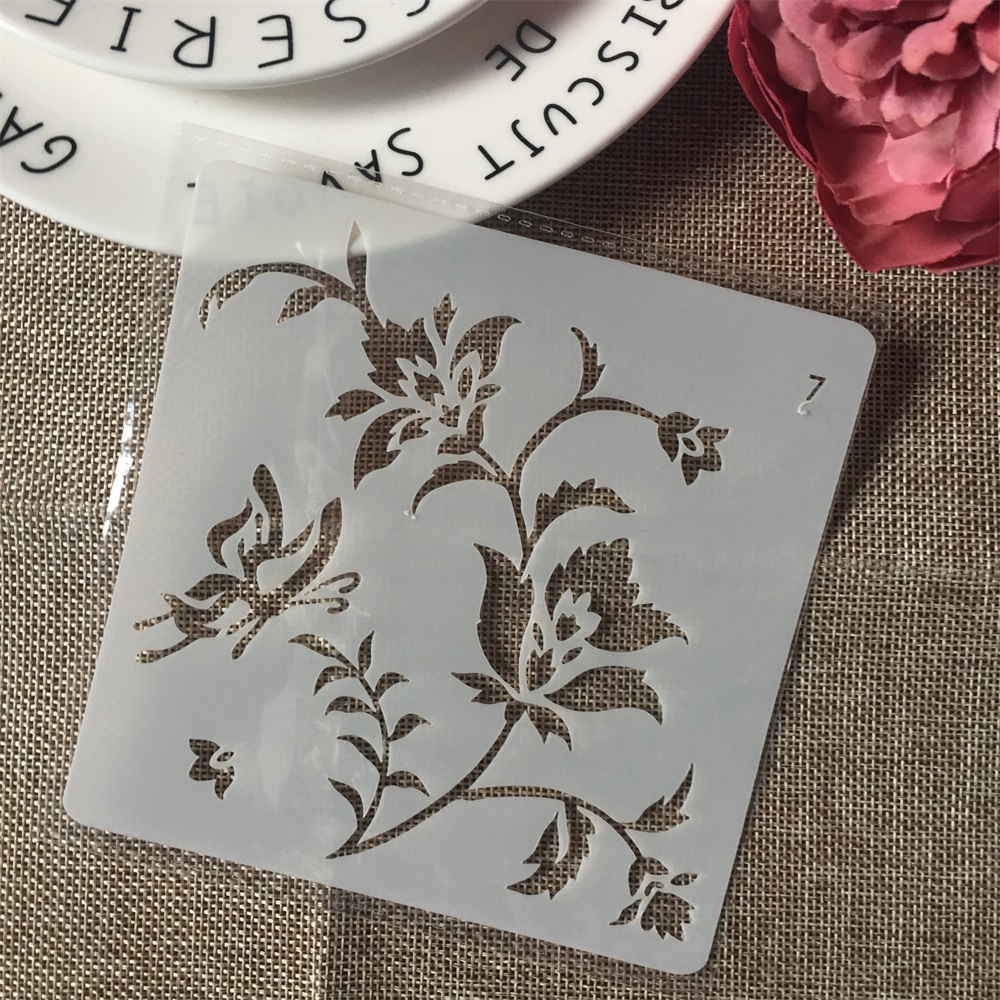 1Pcs 13cm Butterfly Flower DIY Layering Stencils Wall Painting Scrapbook Coloring Embossing Album Decorative Card Template