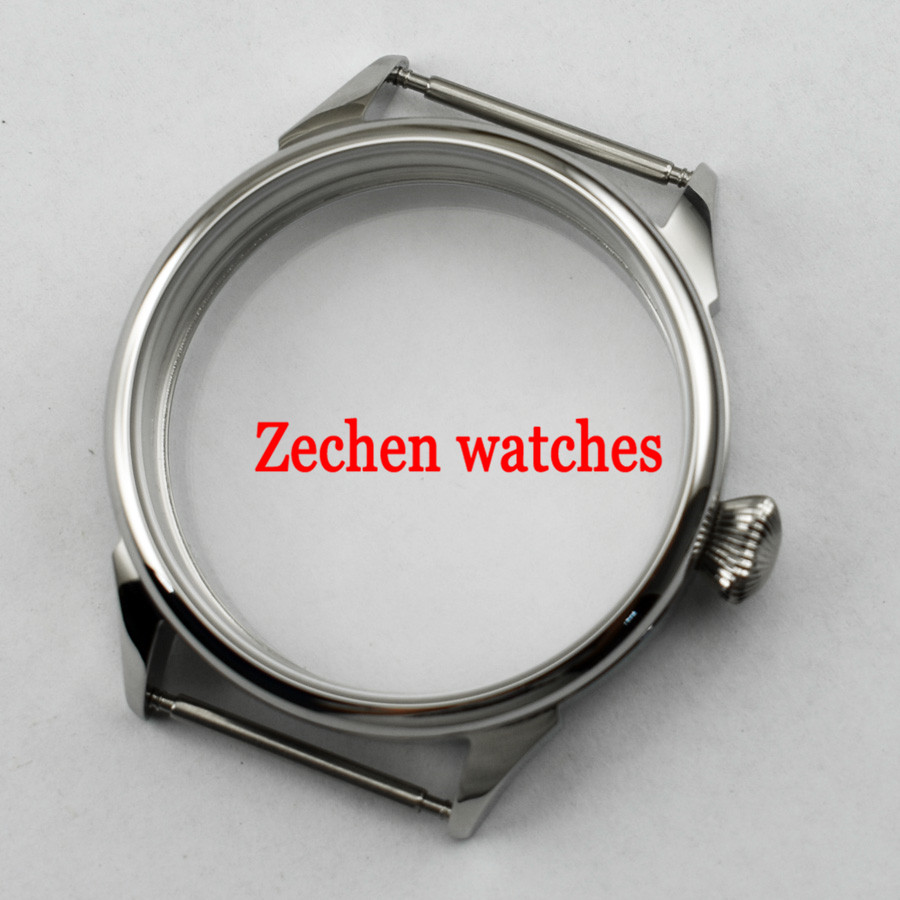 Goutent 42mm watch case fit parnis mens watch ETA 6497 6498 Seagull ST36 Movement Stainless Steel Watch Case 46mm matte silver gray stainless steel watch case fit 6498 6497 movement watch part case with mineral crystal glass