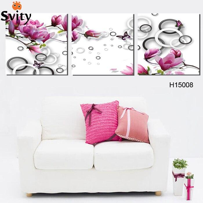 っ3 unidades envío libre moderno de la pared pintura púrpura rosa ...