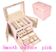 Free shipping Large luxury smooth PU pink jewelry box,earrings necklace pendant  jewelry display shelf packing gift box