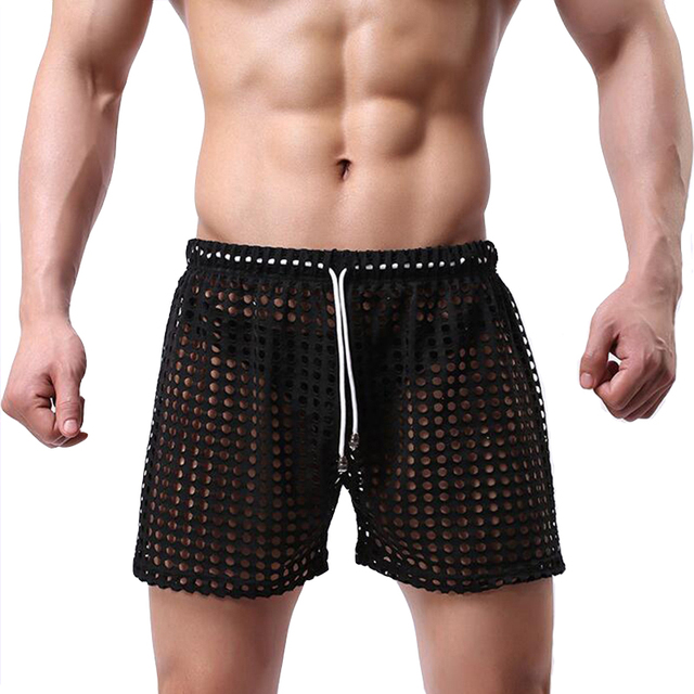 KWAN.Z mens sexy sleepwear big mesh brand-clothing hollow men's home pajamas shorts sexy sleep bottom mens sheer pajamas Celos