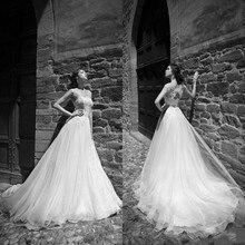 Romantic Appliques Lace A Line Wedding Dresses 2019 Train