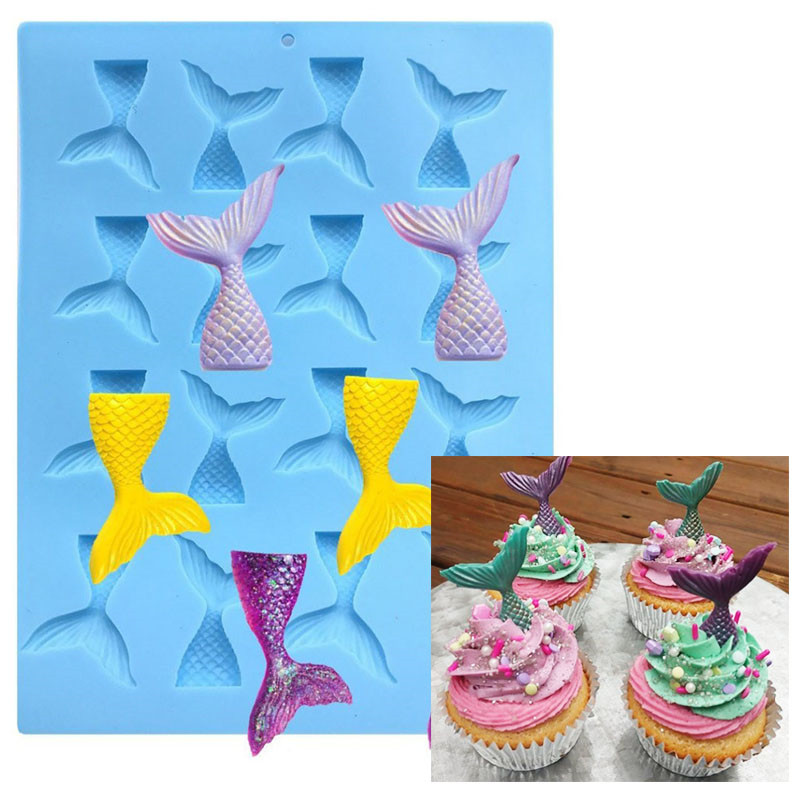 Silicone Mini Mermaid Tail Mold Fondant Cake Molds Cupcake Kitchen Baking Tools Gum Paste Chocolate Clay Candy Moulds BakingTool