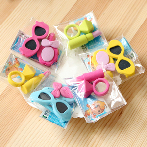 Image 2 - 48bag/lot Creative Ladies Ring, lipstick, sunglasses, eraser / cartoon eraser / student stationery/children gift
