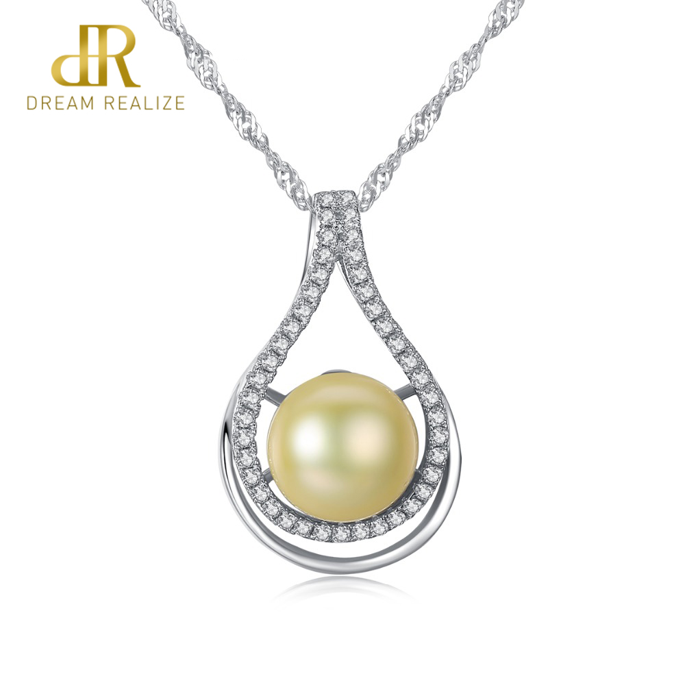 DR Brand Luxury Golden Color Pearl Pendant Necklace S925 Silver Wave Chain Women Necklace Silver Jewelry Factory WholesaleDR Brand Luxury Golden Color Pearl Pendant Necklace S925 Silver Wave Chain Women Necklace Silver Jewelry Factory Wholesale