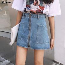Xnxee Spring Summer Harajuku Ring Zipper Denim Skirts 2018 Women Casual High Waist Big Pocket Skirt Female