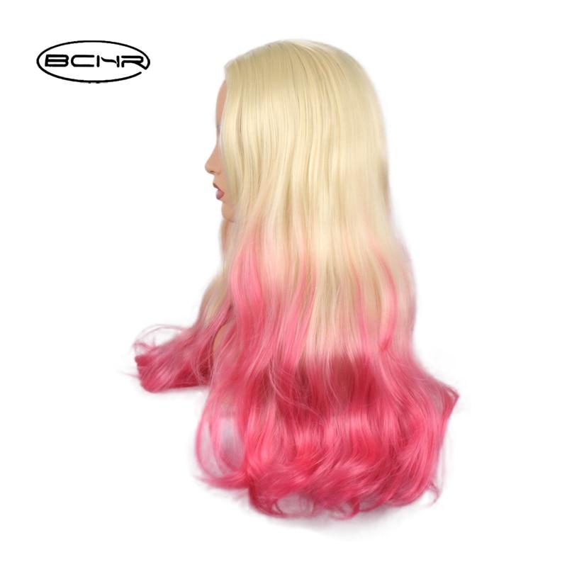 BCHR Långt Billiga Hår Två Vit Ombre Rosa Paryk Naturlig - Syntetiskt hår - Foto 3