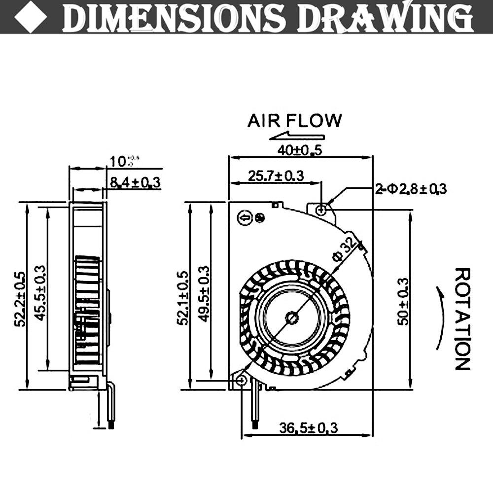 2 шт. Gdstime 5 см 50 мм вентилятор 5 в 12 В 50 мм x 50 мм x 10 мм 5010 шаровой радиальный центробежный вентилятор охлаждения турбины вентилятор кулер вентилятор