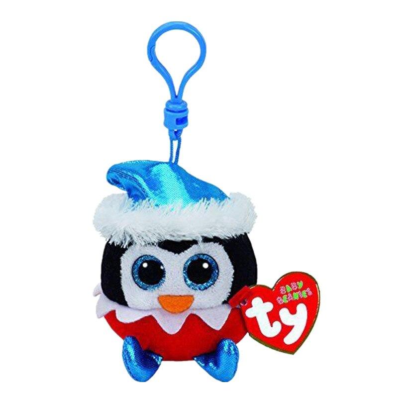 Ty ребенка шапочка Бооса 4 дюймов sugarplum Пингвин keyclips клип плюшевые чучело Коллекционная кукла игрушка с бирками сердце