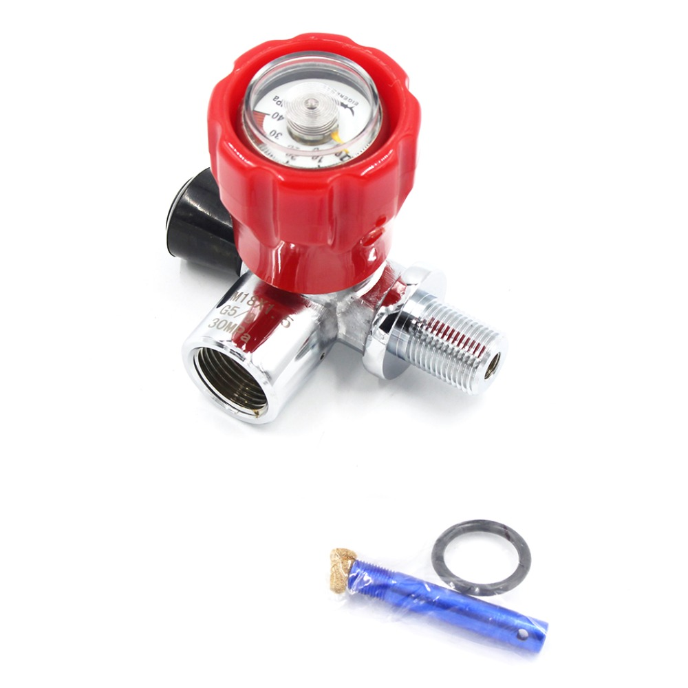PCP Paintball Din Valve Tank ON/OFF Valves With Gauge ON SIDE G5/8 Female M18x1.5 Male 4500psi Fill Station M18x1.5 HPA Cylinder