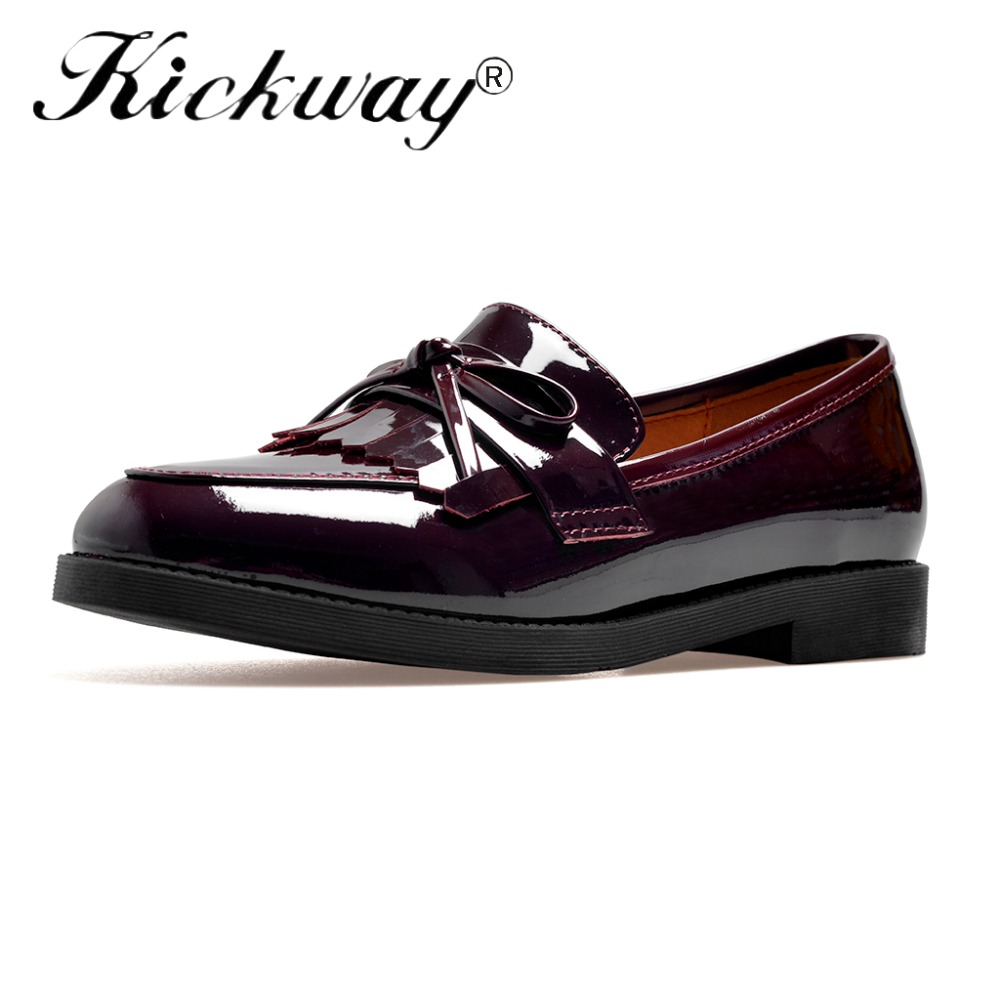 Kickway Oxford Shoes For Women Genuine Leather Round Toe Pigskin Inside Comfortable Dress Shoes for Office Ladies women Flats new arrival soft leather shoes women flats fashion design square toe comfortable women s flats office ladies brand shoes