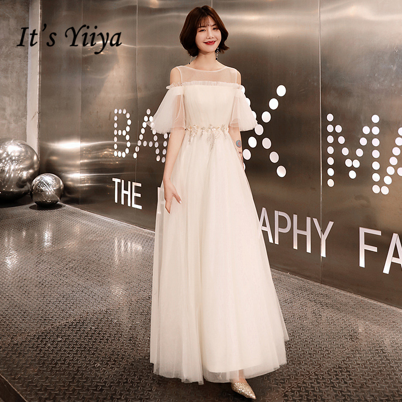 It's YiiYa   Prom   Gowns White A-line Floor Length Half Sleeves Tulle Plus Size O-neck Simple Customized Party   Prom     Dresses   E435