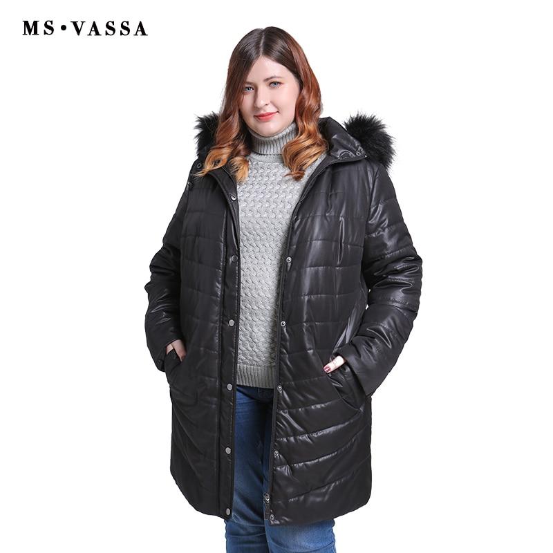MS VASSSA Women Parkas 2018 New Winter Autumn Jackets turn-down collar teddy lining plus size 5XL 6XL female outerwear