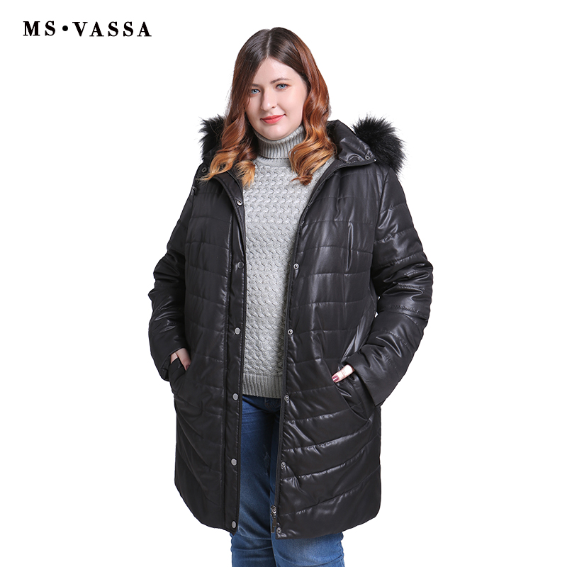 MS VASSSA Women   Parkas   2018 New Winter Autumn Jackets turn-down collar teddy lining plus size 5XL 6XL female outerwear