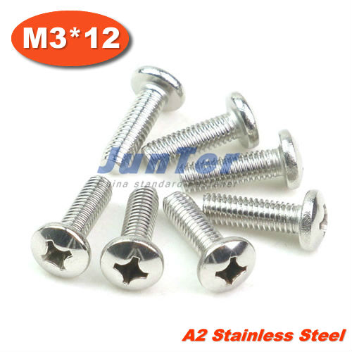1000pcs lot DIN7985 M3 12 Stainless Steel A2 Pan Head Phillips Cross recessed pan head Screw