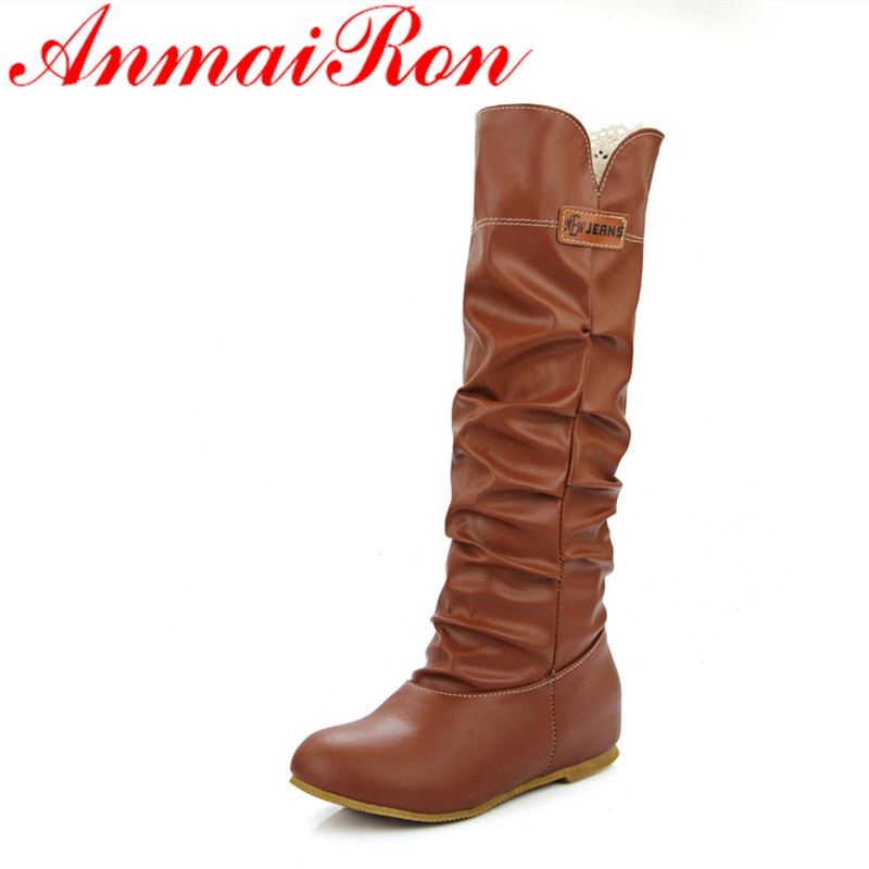 ANMAIRON New Fashion Mid-calf Boots for Women Flats Winter Warm Boots Round Toe Slip-on Large Size 34-46 Black Shoes Woman woman winter warm platform height increasing slip on snow boots fashion round toe dress calf boots black pink white