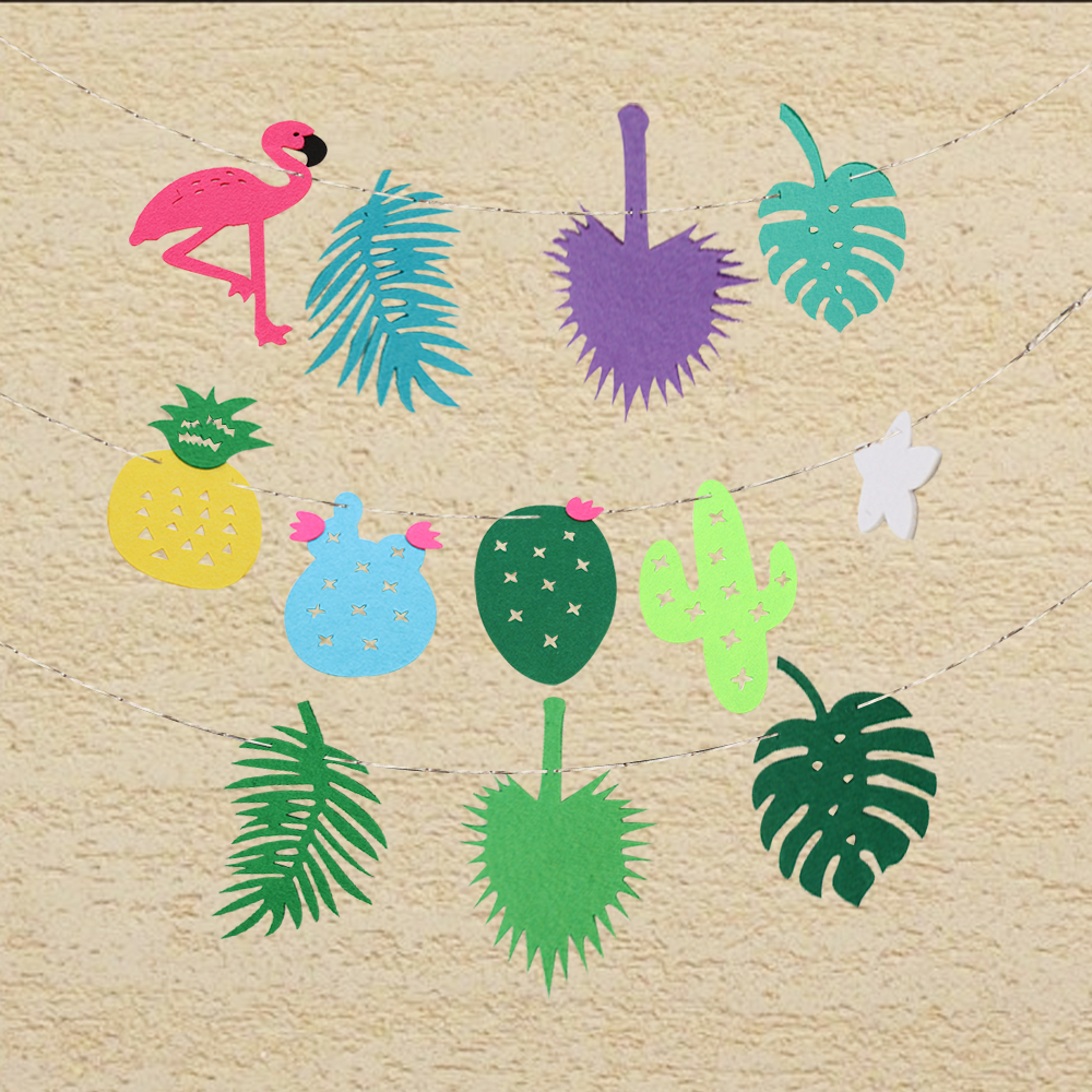 1set Flamingos Pineapple Coconut leaf Garland Bunting Banner Pennant Wedding Birthday Party DIY Craft kids room Decoration