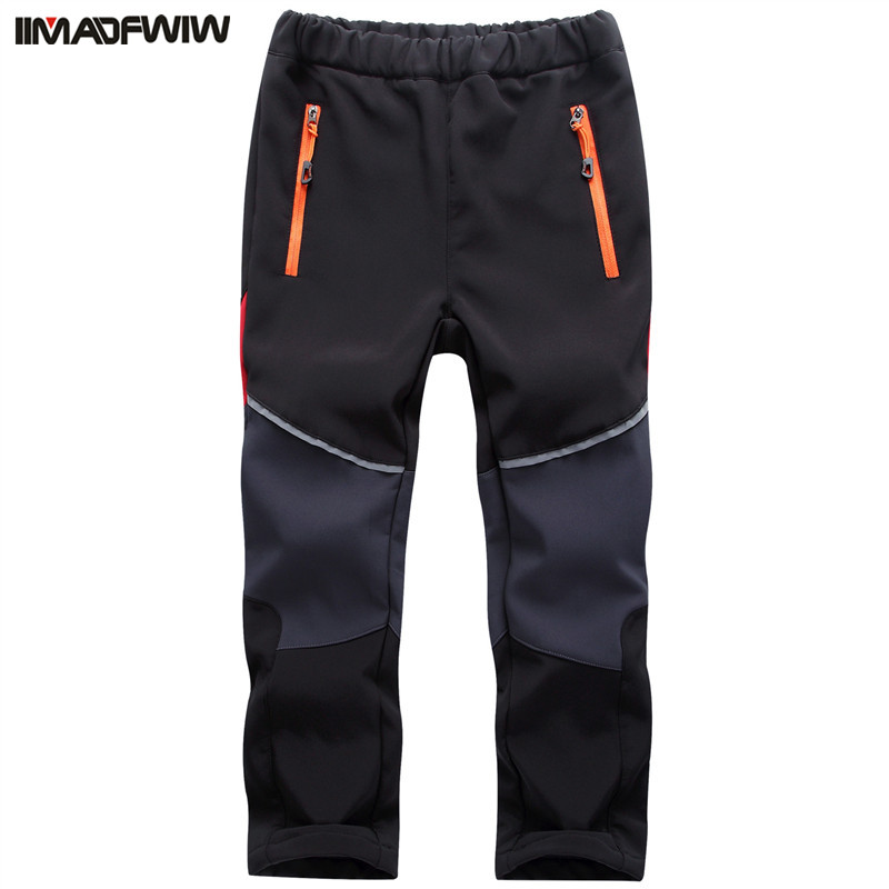 2018 Autumn Winter Boys Girls Hiking Pants Outdoor Softshell Trousers Waterproof Windproof Thermal for Camping Ski Climbing