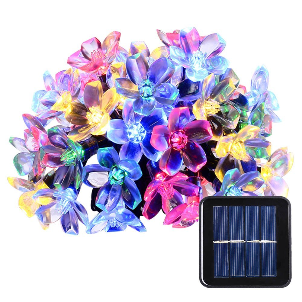 Solar Christmas led String Lights, 21ft 50 LED Fairy Blossom Flower - Iluminación de vacaciones - foto 1