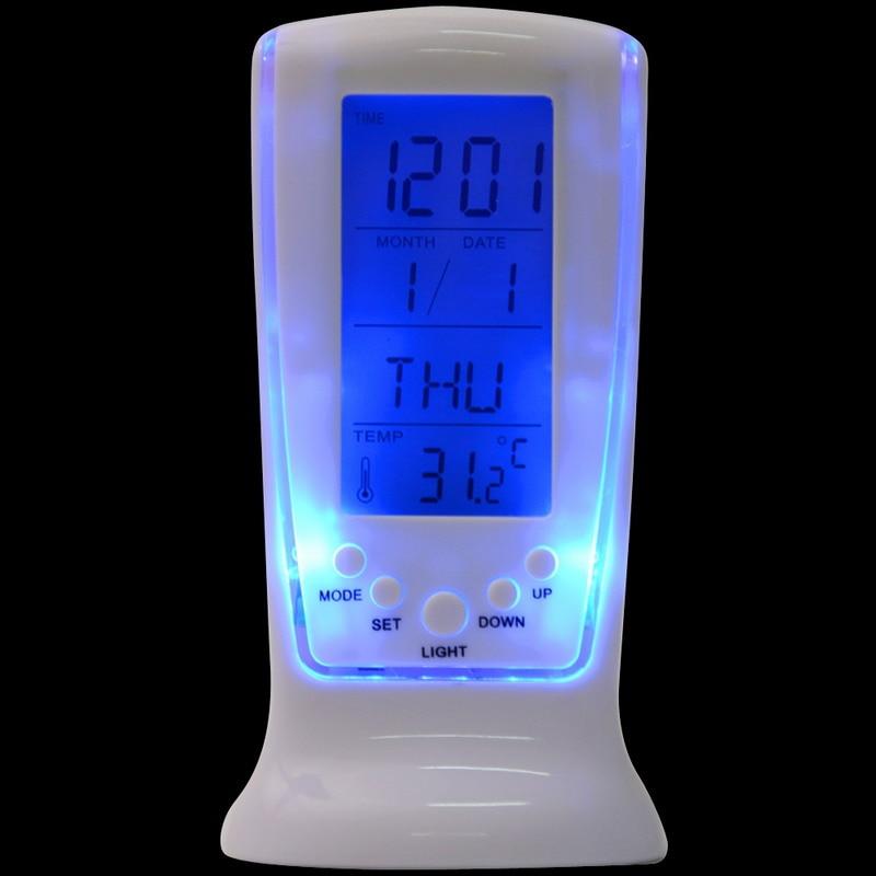 Digital Calendar Temperature LUMINOVA Backlight LED Screen Desktop Alarm Clock White Color Plastic Modern Design P20