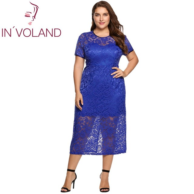 IN VOLAND Women Lace Dress Plus Size Summer Short Sleeve Floral Lace  Evening Party Slim Fit Midi Dresses Vestidos Oversized 4XL 3f0b0e51b720