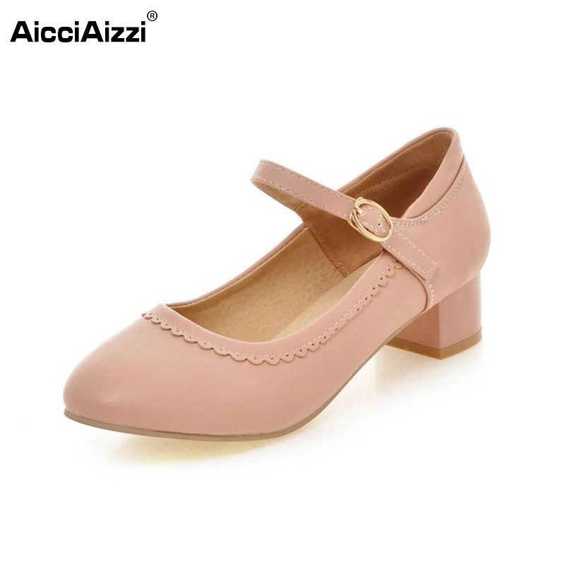 women high heel shoes sweet spring quality footwear fashion heeled ankle strap round toe ladies pumps shoes size 34-43 P22451 new 2017 spring summer women shoes pointed toe high quality brand fashion womens flats ladies plus size 41 sweet flock t179