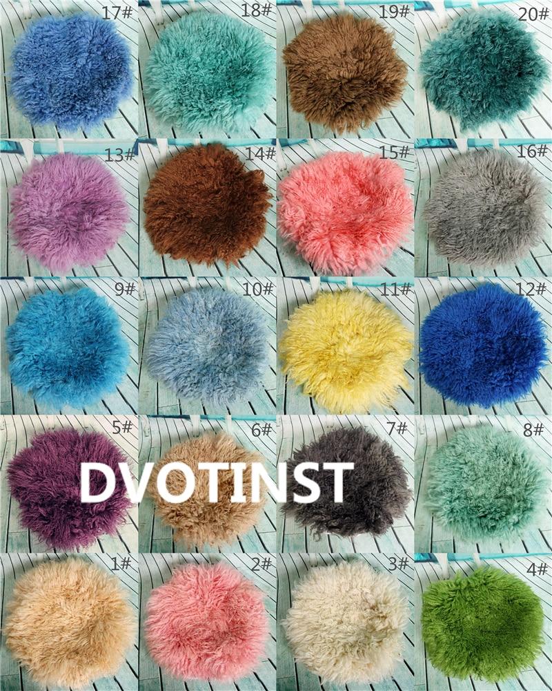 Dvotinst Baby Photography Props Real Wool Background Blanket Mat Basket Filler Newborn Fotografia Accessory Studio Shooting Prop